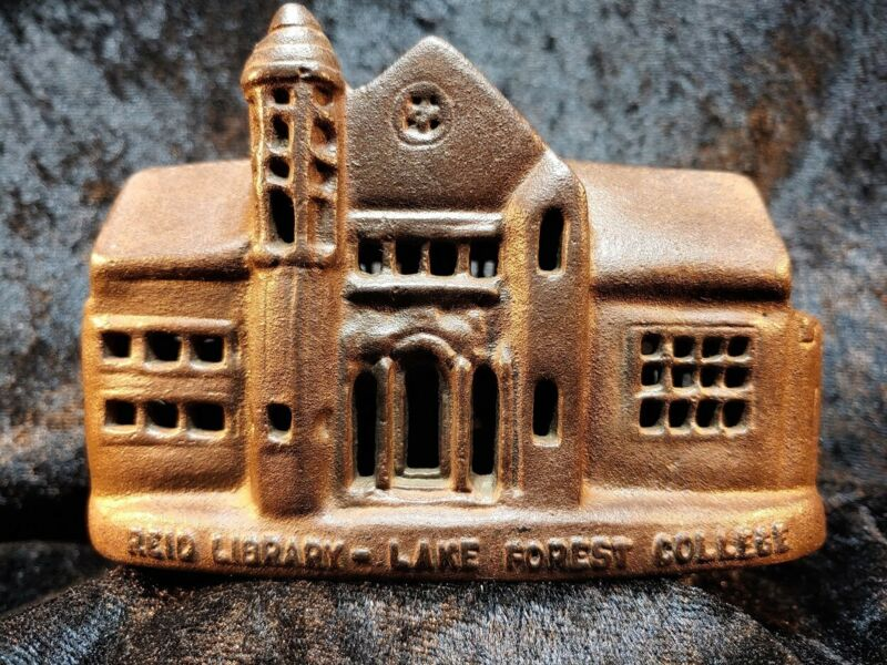 Reid Library Cast Iron Coin Bank Souvenir Building