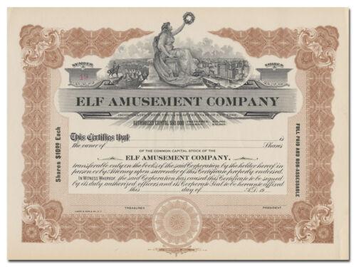 Elf Amusement Company Stock Certificate