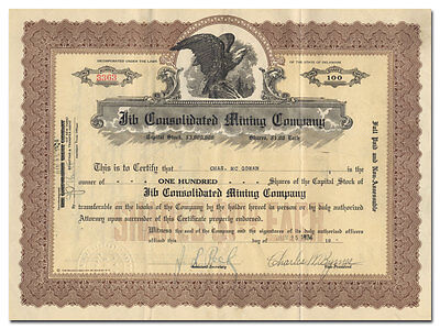 Jib Consolidated Mining Company Stock Certificate