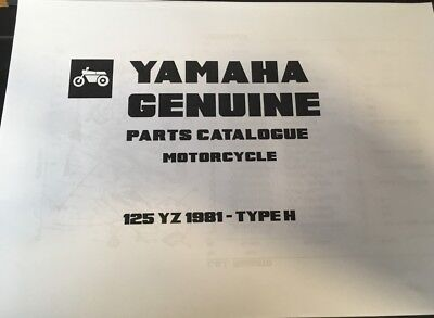 YAMAHA 125 YZ PARTS LIST MANUAL CATALOGUE 1981 4V2 paper bound copy.