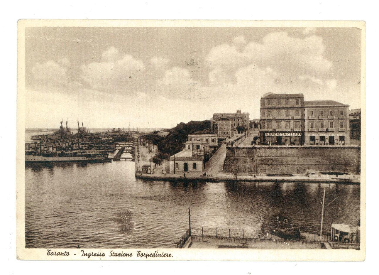 TARANTO INGRESSO STAZIONE TORPEDINIERE PUGLIA VIAGGIATA 1935 NAVI ALBERGO EUROPA