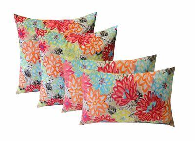 "4 Indoor/Outdoor Pillows - 17"" x 17"" Square & 12"" x 20"" Rectangle Throw Pillows"