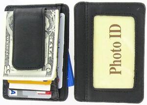 Genuine-Leather-MAGNETIC-MONEY-CLIP-ID-CARD-HOLDER-CASE-Wallet-Black