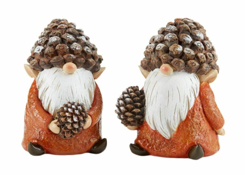 """Fairy Gnome Garden Fall/Harvest 5"""" Pine Cone Hat Gnomes - Set/2 - Buy 3 Save $5"""