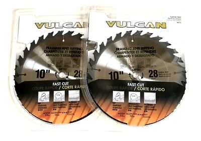 "2 VULCAN 10"" CARBIDE 28 TOOTH CIRCULAR TABLE MITER SAW BLADES 28T 9167 for sale  Shipping to Canada"