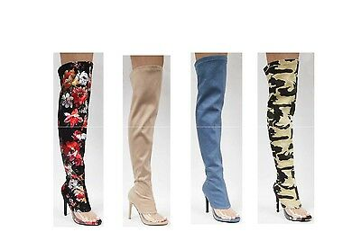 New Stretch Over The Knee Thigh High Boot Stiletto Heel Clear Lucite Transparent
