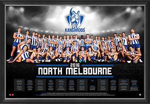 North Melbourne 2016 Official AFL Team Print Framed Brent Harvey Wells Swallow