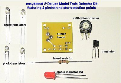 S SCALE DELUXE 4 POINT MODEL TRAIN DETECTOR KIT FOR CROSSING FLASHERS & MORE