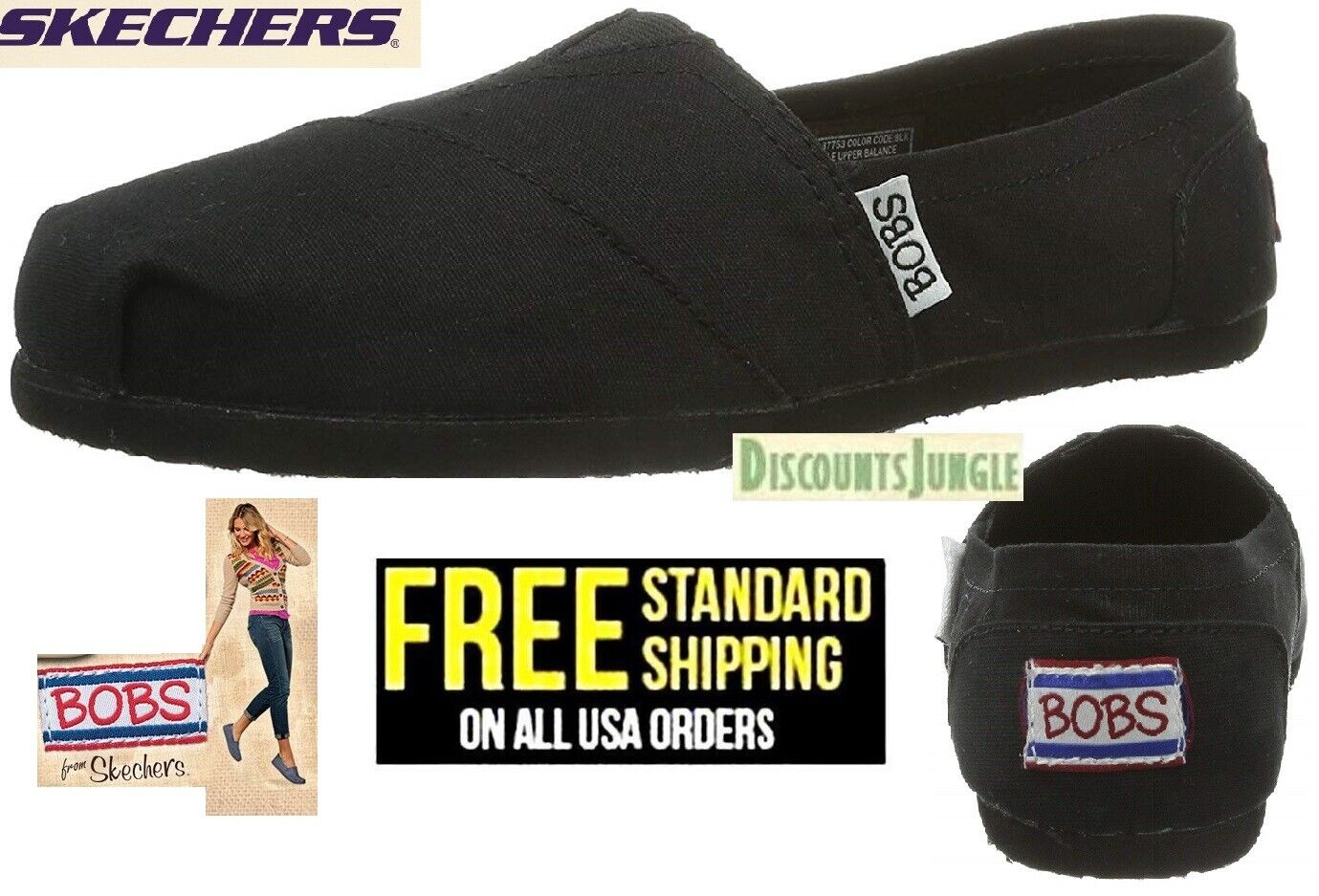 BOBS from Skechers Earth Day Slip On Flat Women's Shoes size 8 to 11 BLACK NEW