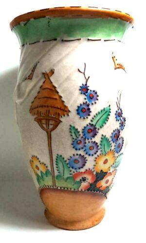 "Superb ""Mattita"" Crown Devon Fieldings Art Deco Vase; Ribbon Swirls; Moriage"