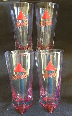 Bass Ale Beer Triangle Base Pint Glasses- Set of 4- English Brew Pub Bar 16 oz