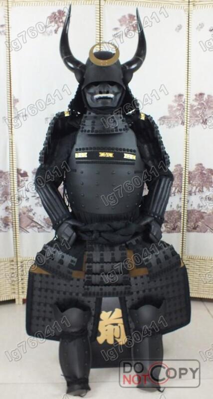 Japanese Iron & Silk wearable Black Horn helmet Rüstung Samurai Armor suit