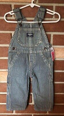 Vintage NWT Osh Kosh Boys 9 Mo Pinstripe Engineer Bib Overalls New
