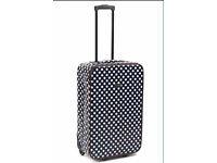 "Brand New 24"" Polka Dot Navy White Oil Cloth Suitcase"