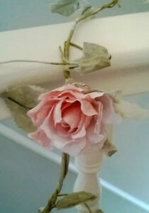 Antique shabby chic ROSE GARLAND PINK FLOWER 6FT vintage wedding *FREE DELIVERY*