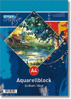 Aquarellblock 24 Blatt DIN A4 185 g/m²  kopfgeleimt Zeichenblock weiß Papier
