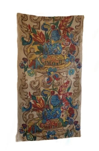 Beautiful Charming 1920s French Linen Floral Block Print (3062)