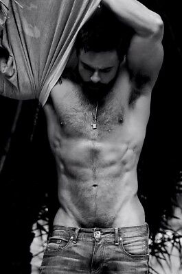 Shirtless Male Beefcake Hairy Chest Beard B&W Arm Pit Hunk Jock PHOTO 4X6 F480