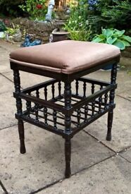 BEAUTIFUL UNUSUAL VINTAGE PIANO STOOL WITH VELVET MATERIAL PADDED SEAT