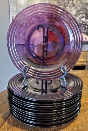 Bormioli Rocco Forum Amethyst Purple Dinner Plates Embossed Rings