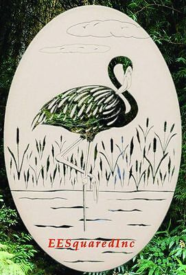 FLAMINGO STATIC CLING WINDOW DECAL New Oval 8x12 Tropical Bird Decor Left Facing