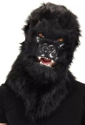 NWT Furry Gorilla Mouth Mover Mask  Realistic Planet of Apes Costume Faux Fur - Gorilla Costume Realistic