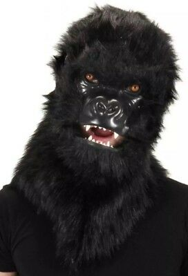 NWT Furry Gorilla Mouth Mover Mask  Realistic Planet of Apes Costume Faux Fur (Gorilla Costume Realistic)