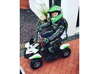 Kids children's motocross full Kit Suit helmet gloves Top Bottoms green body armour