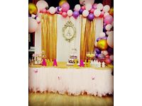 FLASH SALE!! FLOWER WALL or Curtain BACKDROP just £99!! Chair Covers / Balloons / Centerpieces