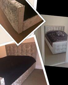 Silver King size Crushed Velvet Bed