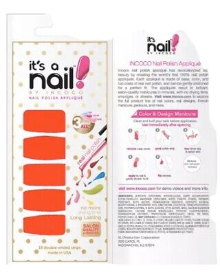 """INCOCO Nail Polish Strips, """"Full Blast"""" Red Pink 16 Double-Ended Strips"""