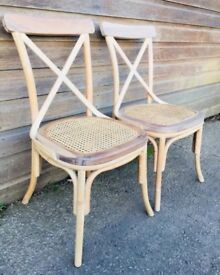 Pair Of Two Bentwood Bergere Kitchen Dining Chairs