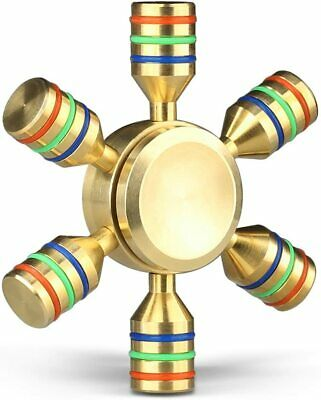Fidget Spinner Metal 2-4 Minutes Quiet Fidget Toys - Gold (6-SIDED-GOLD-SPINNER)