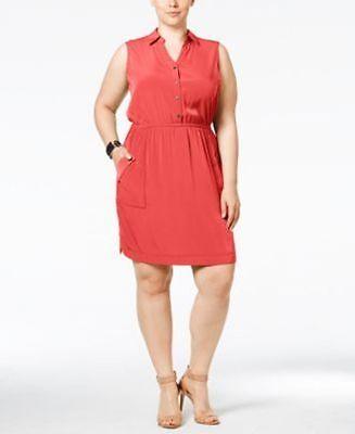 Alfani Plus Size Gathered-Waist Shirt Dress Coral Blast 16W