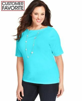 Plus Size Angel (CHARTER CLUB PLUS SIZE TOP PIMA ANGEL BLUE WOMENS SIZE 2X NEW WITH)