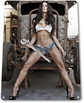 Big Wrench Pinup Girl Sexy Hot Rod Car Garage Shop Man Cave Decor Metal Tin Sign