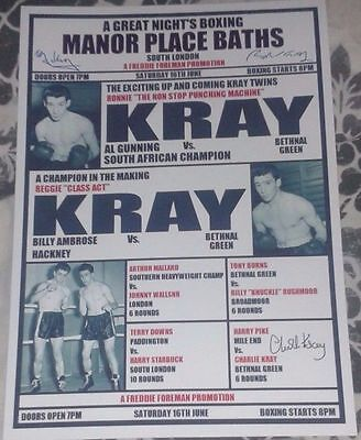 THE KRAY TWINS SIGNED BOXING POSTER. EAST END GANGSTERS. THE KRAYS.
