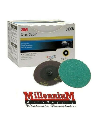 3M 01398 2 Inch Green Corps Roloc Green Disc 24 Grit 1398
