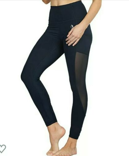 icyzone Women's Yoga Leggings High Waist  Mesh pants  bluebe