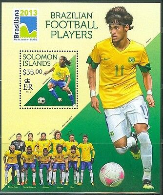 SOLOMON ISLANDS BRAZILIAN FOOTBALL SOCCER PLAYERS S/S NEYMAR AS SHOWN
