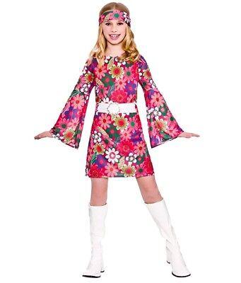Child RETRO GOGO GIRL Flower Power 60s 70s Fancy Dress Costume Girls Age 5-13