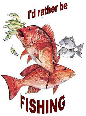 Red Snapper # 10 - 8 x 10 - T Shirt Iron On Transfer - I rather be fishing