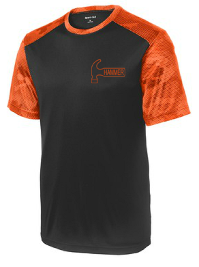 Hammer Men's Camo Performance Crew Bowling Shirt Dri-fit Orange