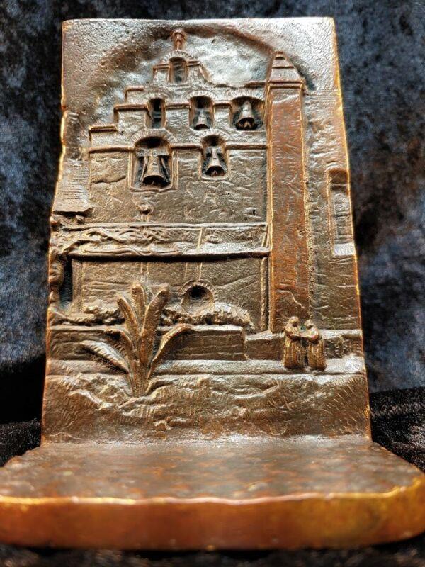 Mission San Gabriel Solid Bronze Bookend Souvenir Building