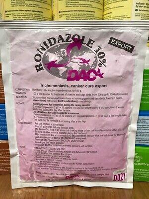 DAC RONIDAZOLE 100g PIGEONS BIRDS TREATMENT: Trichomoniasis Hexamitiasis Canker