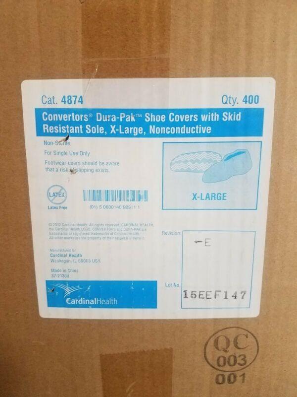 CARDINAL HEALTH 4874 Convertors Dura-pak Shoe Covers XL (400 PCS, UNOPENED)