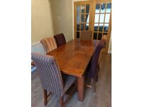 Dining Table & Six Upholstered Chairs - Extending Table