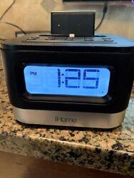 iHome Space Saving Wake Sleep Lighting Dock FM Radio Alarm Clock Speaker - IPL10