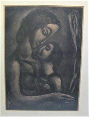 """Rare Original GEORGES ROUAULT Heliogravure """"Mother & Child""""  c. 1923  print"""