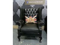 Fantastic Chesterfield Queen Anne Wing Back Chair in Green Leather - Uk Delivery